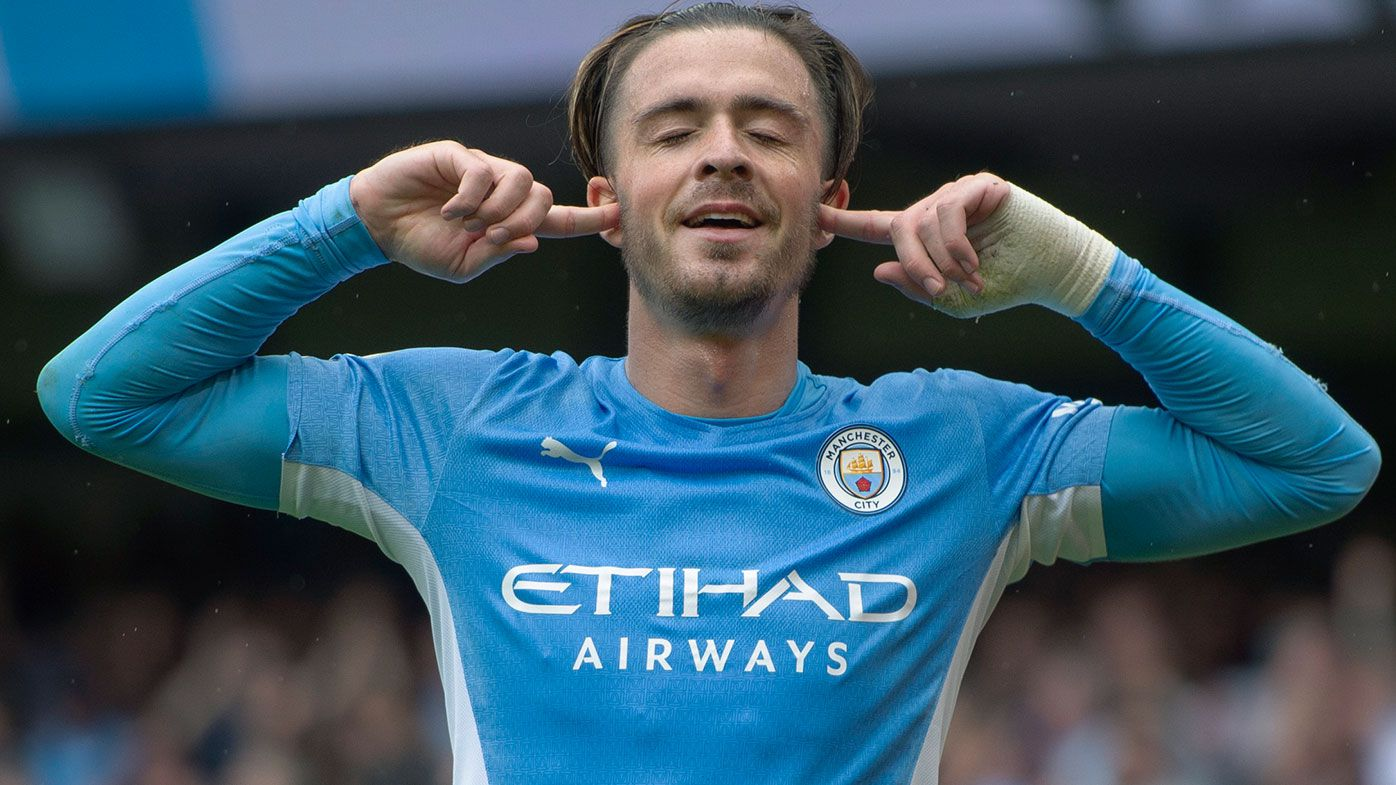 Jack Grealish of Manchester City celebrates scoring their team's second goal during the Premier League match between Manchester City and Norwich City at Etihad Stadium on August 21, 2021 in Manchester, England. (Photo by Joe Prior/Visionhaus/Getty Images)
