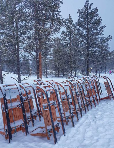 Sleds lined up at Finland's glass igloo Hotel Kakslauttanen