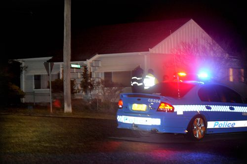 Police investigating the triple murder on Brougham Street, Cowra, in June 2008. Picture: AAP