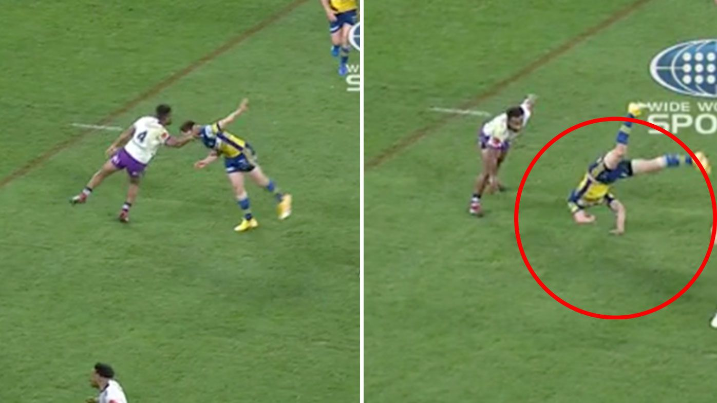 Eels star Mitchell Moses sent flying after 'old-fashioned coat-hanger' by Storm's Justin Olam
