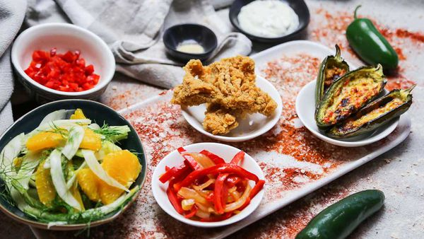 The Tartaglia's Popcorn Tripe with Orange and Fennel Salad and Jalapeño Poppers