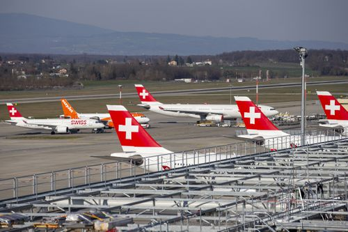 Swiss International Air Lines aircrafts and easyJet aircraft are parked on the tarmac of the Geneva Airport due to the coronavirus COVID-19.
