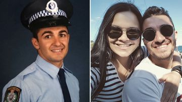 Aaron Vidal (left in his NSW Police uniform, right with fiancé Jessica Loh) was hit while riding his motorbike in 2020.