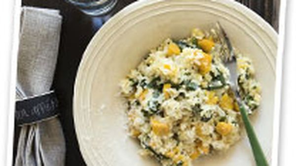 Pumpkin and silverbeet risotto