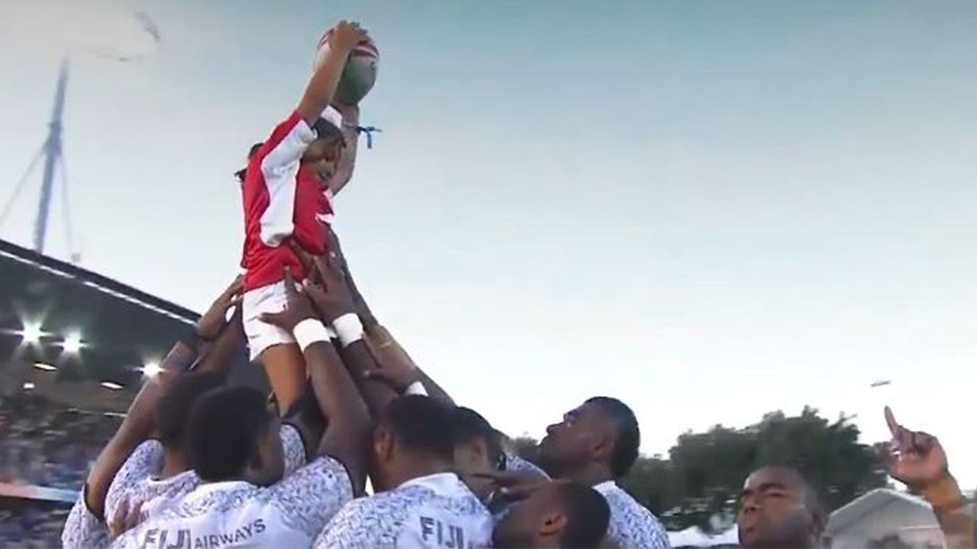 Fiji sevens team's powerful moment with ballgirl prior to Hamilton win