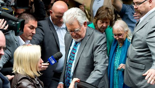 Rolf Harris leaves court after being found guilty of 12 indecent assault charges at Southwark Crown Court, London. (Getty)
