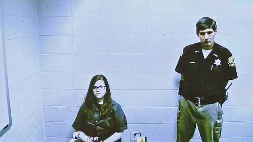 File photo of Anissa Weier, left, appearing via video link from the Washington County Secure Detention Center.