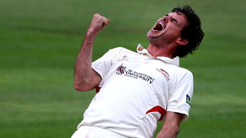 Clint McKay celebrates a wicket for Leicestershire. (Getty)