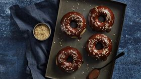 Baked coffee donuts with serious crunch