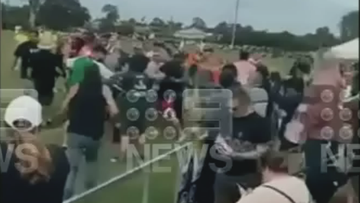 A Brisbane father has sustained serious injuries following a wild brawl at a junior rugby league game over the weekend, with new footage showing the escalation of the altercation.