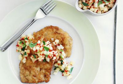 Crumbed pork steaks with pineapple, lime and chilli mojo