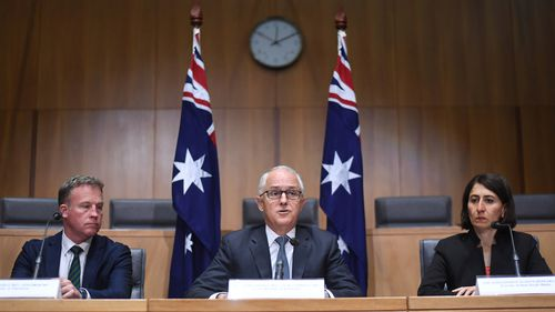 Prime Minister Turnbull speaks to state and territory leaders during a meeting on counter terrorism. (AAP)