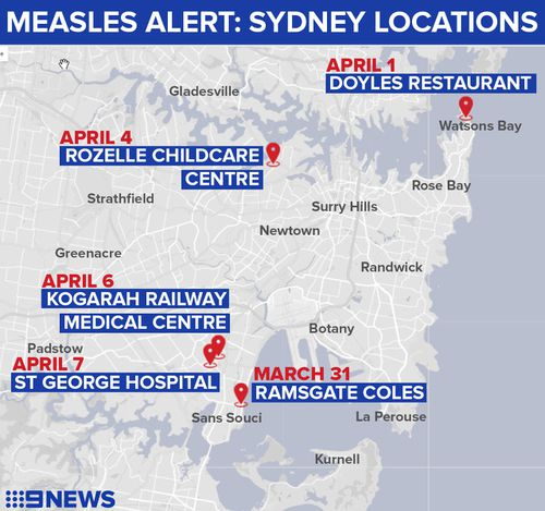 The woman visited these locations while infectious in the past week. (9NEWS)