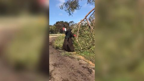 Chainsaw-wielding nun helps clean-up effort after Florida hurricane