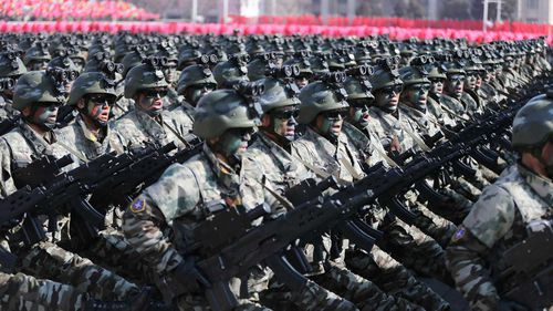 North Korean soldiers march during a military parade to mark the 70th anniversary of the founding of its military in Pyongyang, North Korea.