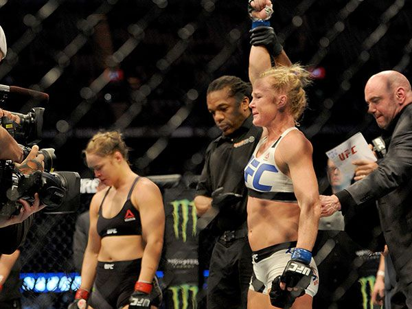 Holly Holm and Ronda Rousey. (AAP)