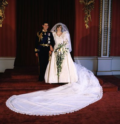 Charles and Diana pose for the official photograph by Lord Lichfield in Buckingham Palace at their wedding on July 29, 1981.