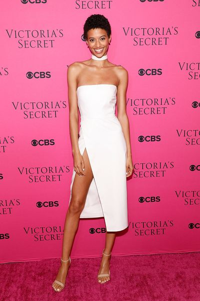 Jourdana Phillips in LaQuan Smithat the Victoria's Secret viewing party in New York.