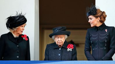 Camilla, Duchess of Cornwall, Queen Elizabeth II and Catherine, Duchess of Cambridge attend the annual Remembrance Sunday service at The Cenotaph on November 10, 2019 in London, England.