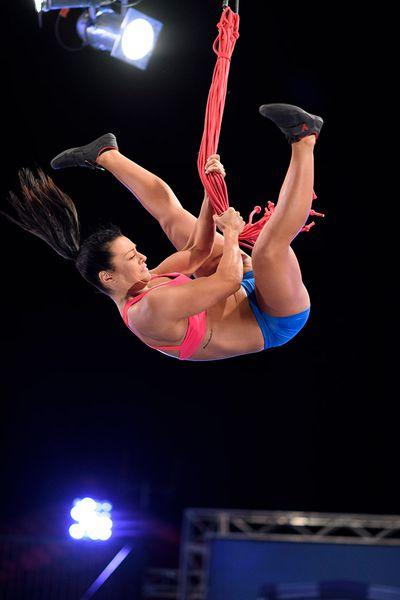 Jenna Douros adjusting her center of gravity.