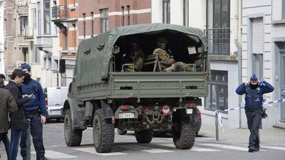<p>Belgian soldiers arrive at the scene of the metro explosion.</p><p>Belgium has raised its terror threat to the maximum level and soldiers have been deployed to the streets of the capital. (AAP)</p>