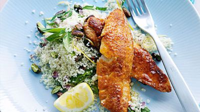 "<a href=""http://kitchen.nine.com.au/2016/05/20/11/35/spiced-fried-fish-with-lemon-pistachio-couscous"" target=""_top"">Spiced fried fish with lemon pistachio couscous<br> </a>"