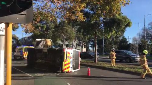 Queensberry Street was closed for some time after the crash. (9NEWS)