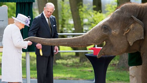 Queen Elizabeth II feeds an elephant named 'Donna' after opening the new Centre for Elephant Care at ZSL Whipsnade Zoo in Whipsnade, north of London, on April 11, 2017. (AFP)