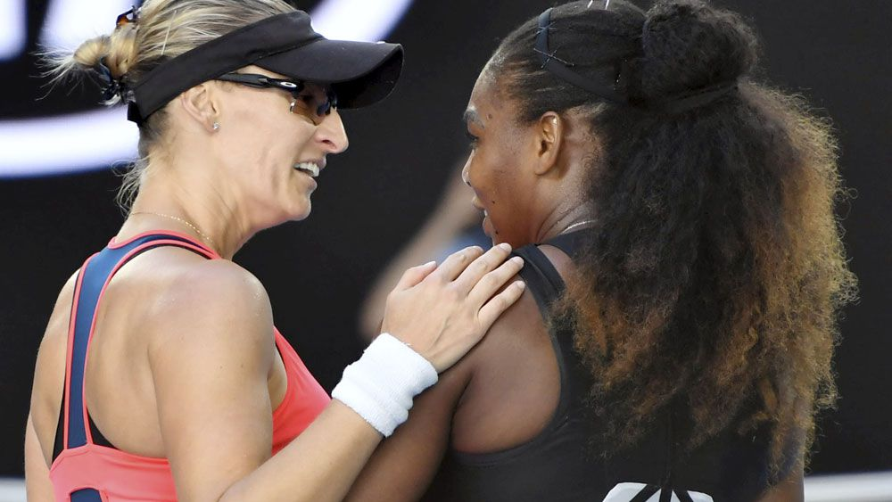 Mirjana Lucic-Baroni and Serena williams. (AAP)