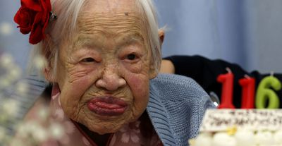 "The world's oldest verified living person is Japanese woman Misao Okawa (pictured), who celebrated her 116th birthday on March 5, 2014. But ""oldest person"" is a cursed title — all those who've held it have died. The highest ever verified age was attained by Frenchwoman Jeanne Calment, who died in 1997 at 122 years. (Buddhika Weerasinghe/Getty Images)"