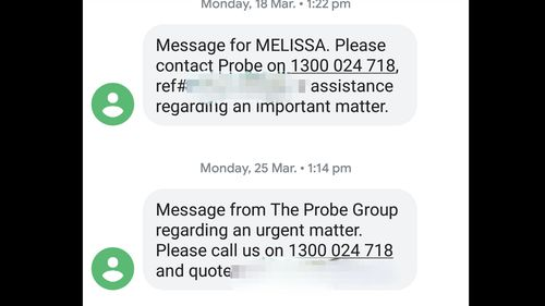 Text messages from debt collection company Probe Group, sent to Melissa's phone.