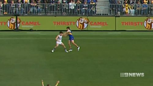 West Coast star Andrew Gaff will front the AFL tribunal for the punch that sent Andrew Brayshaw to hospital. Picture; 9NEWS