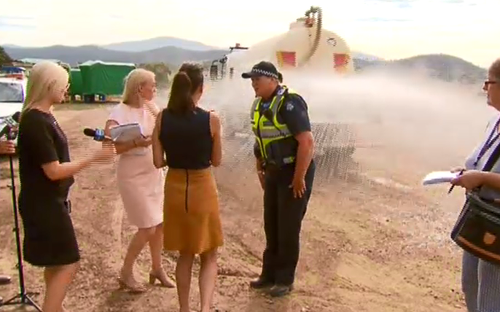 They were all taken by surprise but quickly laughed it off. (9NEWS)