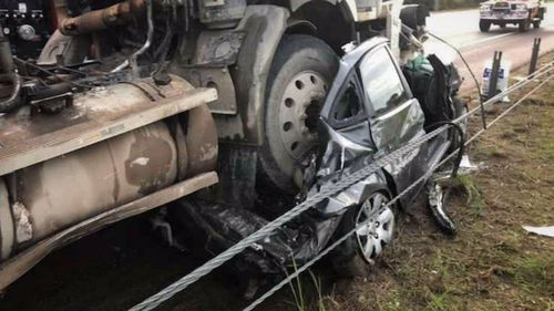 Incredibly, the female driver wasn't seriously injured. Picture: 9NEWS