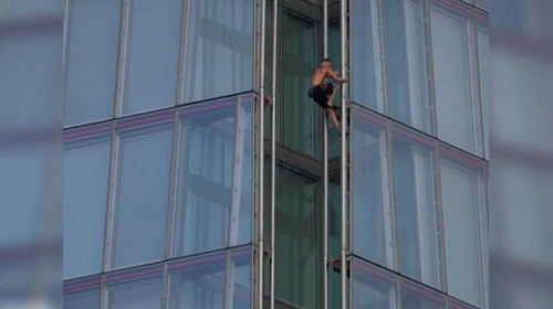 Police caught up with the daredevil inside the Shard tower after the climb, but he wasn't arrested.
