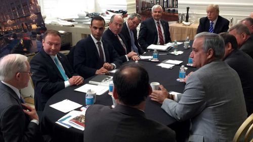 George Papadopoulos (third from left) in a meeting with Donald Trump. (Instagram)