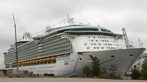 Freedom of the Seas cruise ship docked in Bayonne, New Jersey in 2006.