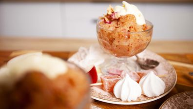 White peach, rose and prosecco granita is the elegant and easy summer treat