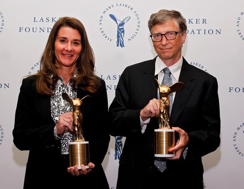 Melinda Gates and Bill Gates of the Gates Foundation, winners of the Public Service Award, at The Lasker Awards 2013.
