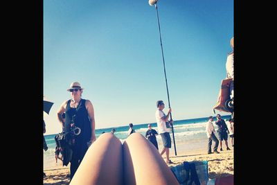 @arielwinter: Ugh what a hard day of work today at Bondi... #beach #modernfamily