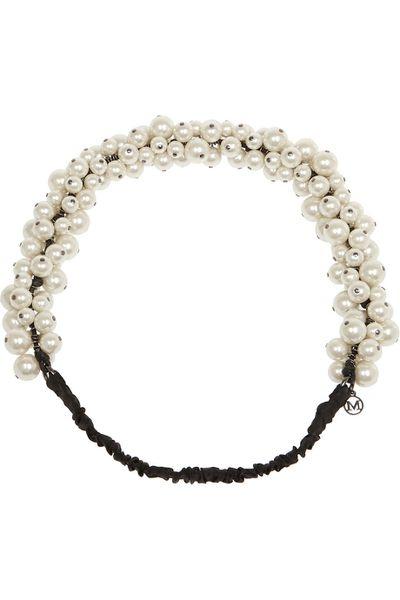 "<a href=""http://www.net-a-porter.com/au/en/product/457642"" target=""_blank"">Astrid faux pearl headband, $453.81, Maison Michel</a>"