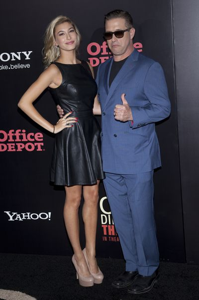 Hailey Baldwin and her father Stephen Baldwin at the One Direction <em>This Is Us</em> world premiere in New York. August, 2013.
