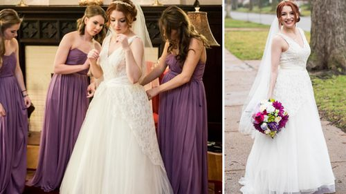 A US woman has become the third generation to wear an heirloom wedding dress. (Chameleon Imagery)