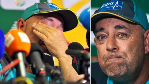 """An emotional Lehmann announced his decision to resign yesterday, saying """"it's only fair"""" that he step down. Picture: AAP."""