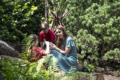 The Duchess led children from charities of which she is patron around the garden.
