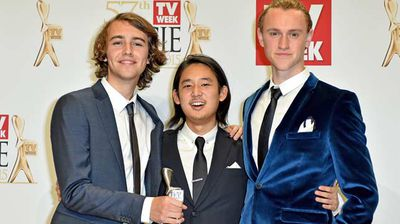 Cast of Nowhere Boys with their Silver Logie for Most Outstanding Children's Program. (AAP)