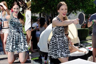 <i>Revenge</i> star Christa B. Allen gets her fun at Coachella's LACOSTE L!VE 4th Annual Desert Pool Party.