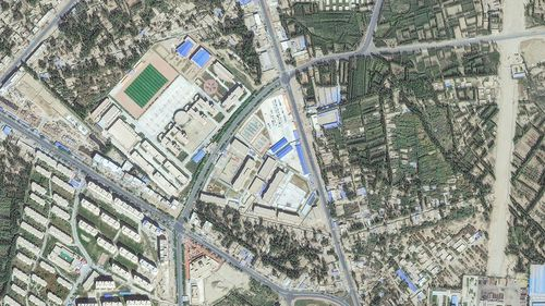 Satellite imagery of a re-education internment camp in Hotan, Xinjiang.