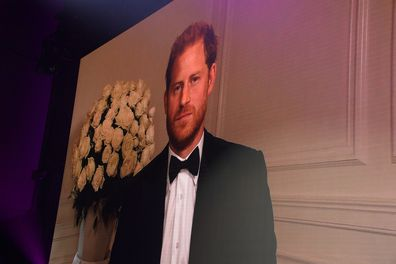 Prince Harry, Duke of Sussex appears via video link  at the 24th GQ Men of the Year Awards in London.