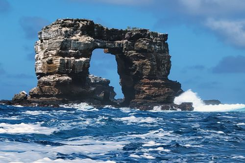 This photo distributed by Galapagos National Park shows Darwin's Arch off the Galapagos Islands, Ecuador, Sunday, May 16, 2021.